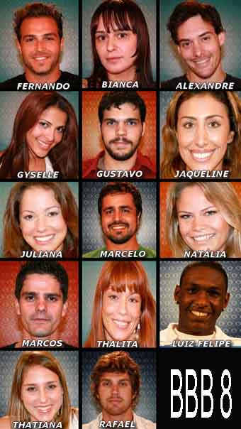 Participantes BBB8-Big Brother Brasil 8