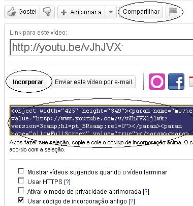 compartilhar videos do youtube