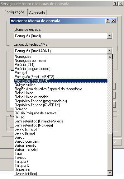 Configurando um teclado