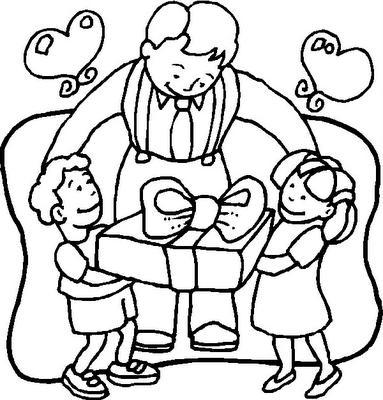 Desenho para colorir dia dos pais-Tempo de escola