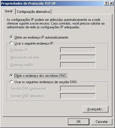 Configurações TCP/IP DNS