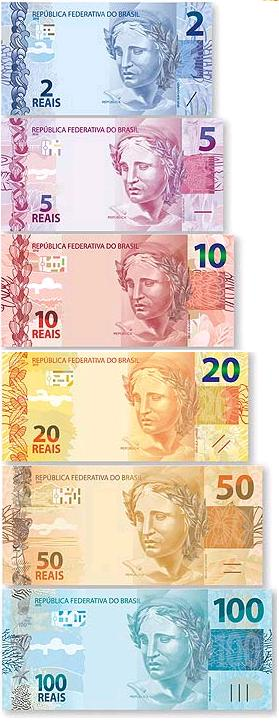 Dinheiro-Novas notas de real de 100 50 20 10 5 e 2 reais