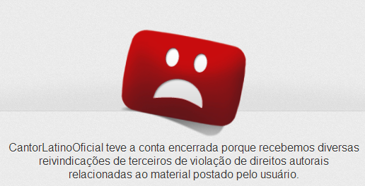 Canal oficial do Latino no youtube é excluído