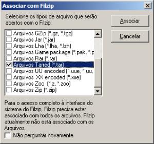 tela opções filzip