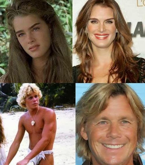 Antes e depois dos atores de Lagoa Azul